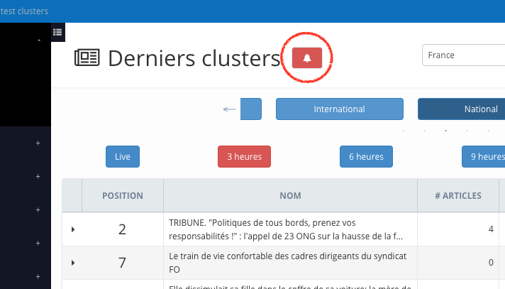 Screenshot of the alert button for the Latest Clusters